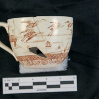 Brown transfer print cup (side c)
